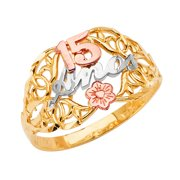 FB Jewels 14K Yellow White and Rose Three Color Gold Fifteen 15 Year Birthday Quincea–era Fashion Anniversary Ring Size 10.5