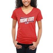 Fresno State Bulldogs Women's Double Bar Tri-Blend V-Neck T-Shirt - Red