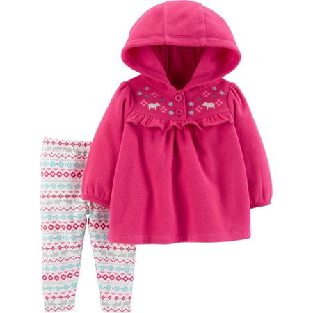 Hooded Long Sleeve Ruffle Fleece Top & Leggings, 2-Piece Outfit Set (Baby Girls & Toddler Girls)
