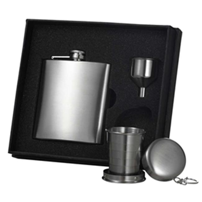 Stainless Steel Hip Flask, Funnel and Shot Cup Gift Set - 6 oz