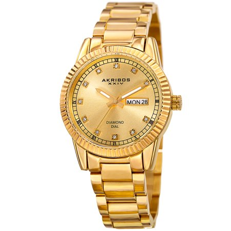Diamonds Quartz Diamond Watch - Women's Quartz Diamond Date Stainless Steel Gold-Tone Bracelet Watch