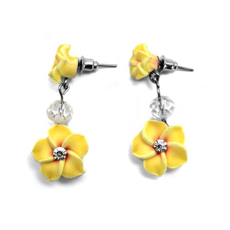 Women's Fashion Hawaii FIMO Double Hibiscus with CZ Dangle Earrings in (Purple Enamel Dangle Earrings)