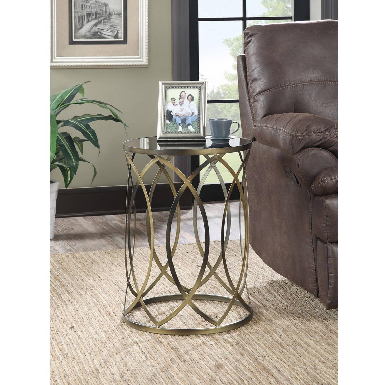 Convenience Concepts Gold Coast Round Accent End Table, Antique Golden, Iron, Black Glass