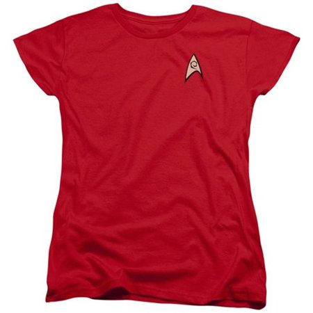 Original Star Trek Womens Uniform (Trevco Star Trek-Engineering Uniform - Short Sleeve Womens Tee - Red,)