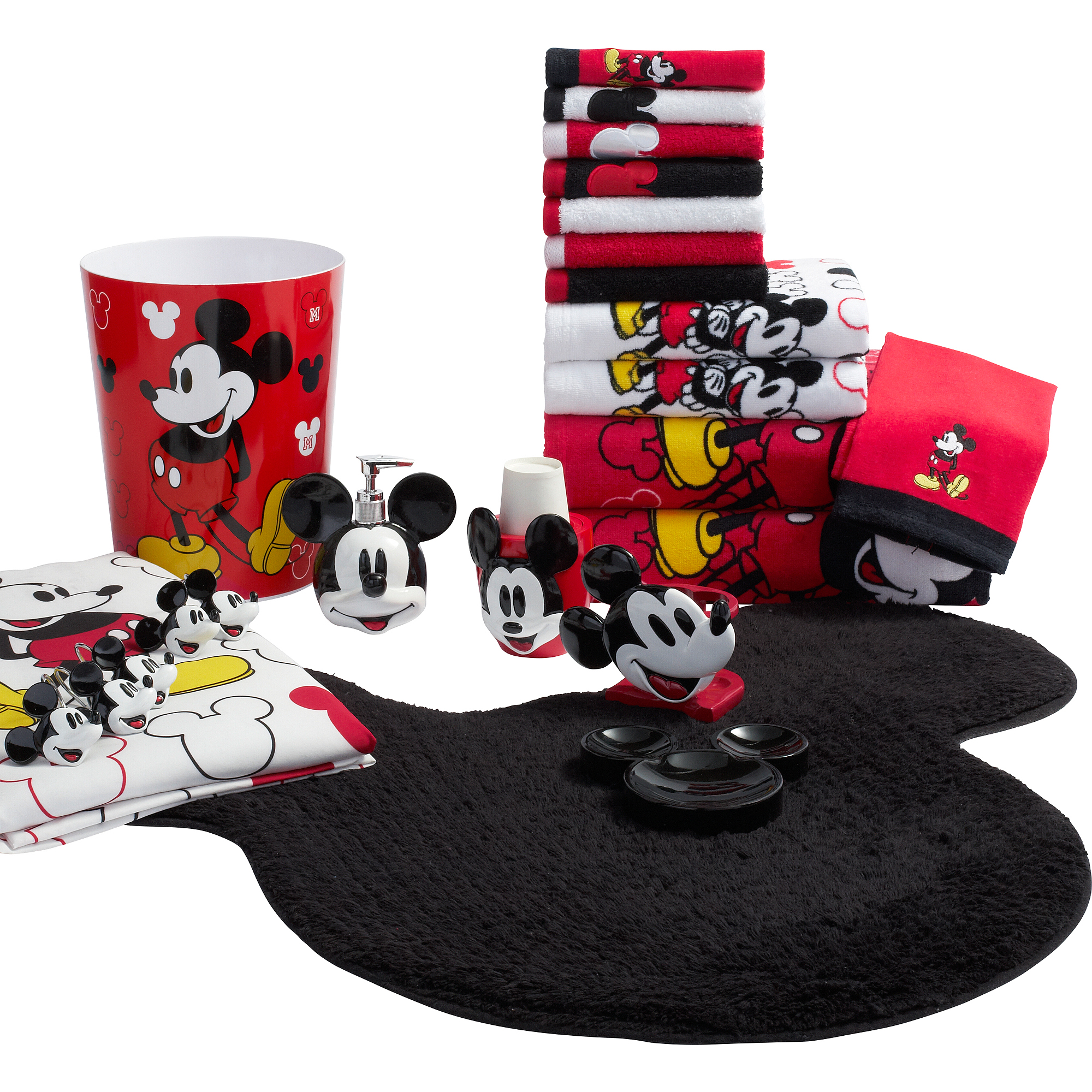 Mickey Mouse Decorative Bath Collection - 12 Piece Shower Hooks