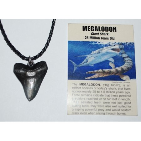 Megalodon Tooth Necklace (Metal Replica) Giant Shark