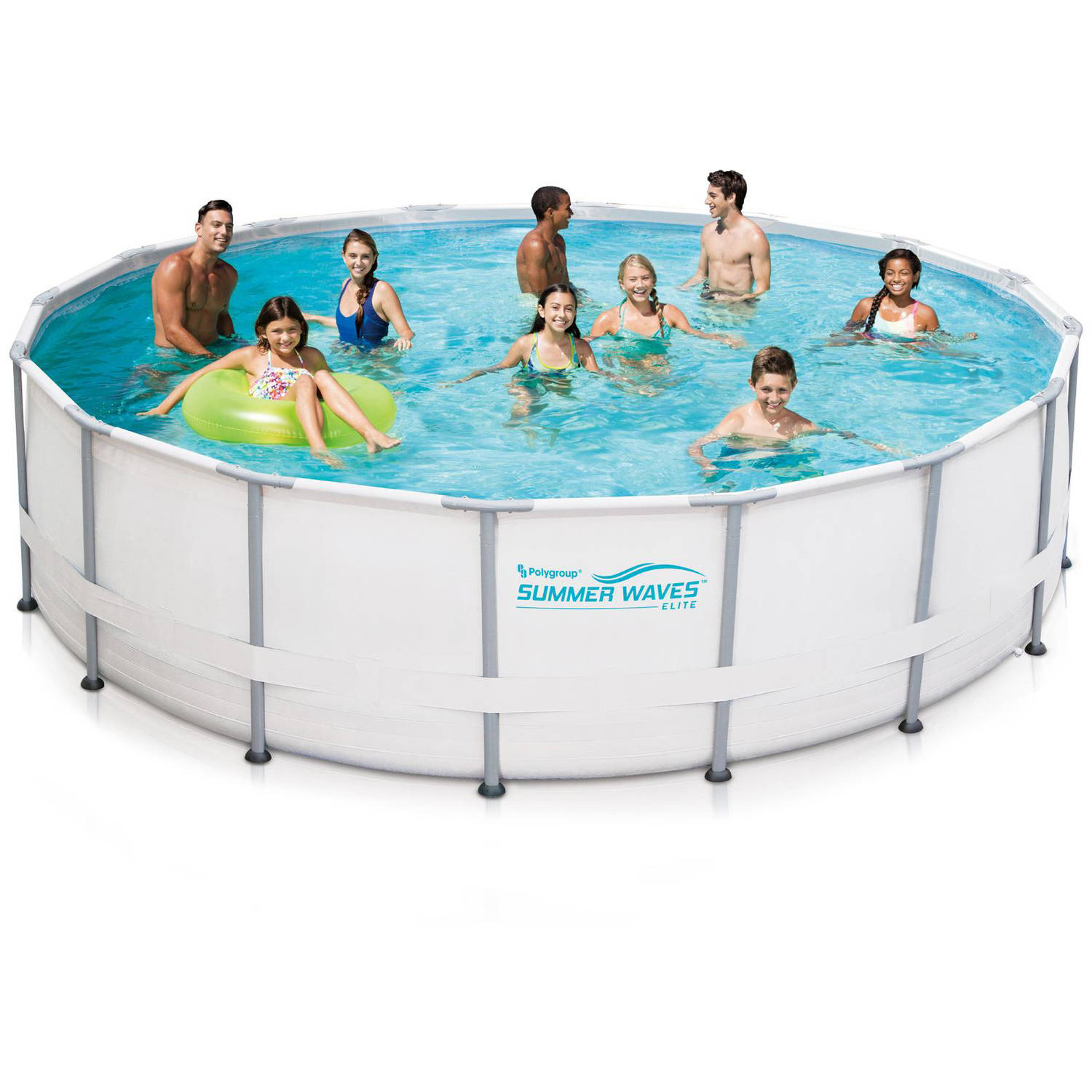 summer waves elite 16 x 48 round premium metal frame above ground swimming pool with deluxe accessory set walmartcom