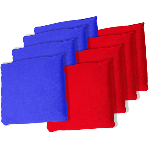 Blue and Red Championship Cornhole Bean Bags, Set of 8