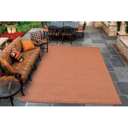 Couristan Black Saddle Stitch - Couristan Recife Saddle Stitch Rug, Terra/Cotta/Natural