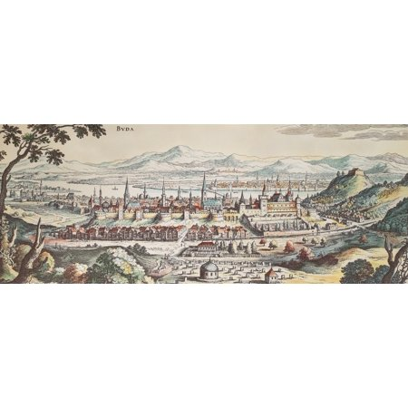 Hungary Buda 1638 Nthe City Of Buda On The West Bank Of The Danube During Ottoman Rule Copper Engraving By Matthaeus Meriam 1638 Rolled Canvas Art     24 X 36