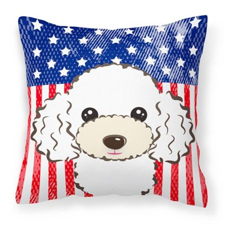 Carolines Treasures BB2187PW1414 American Flag & White Poodle Fabric Decorative Pillow - image 1 of 1