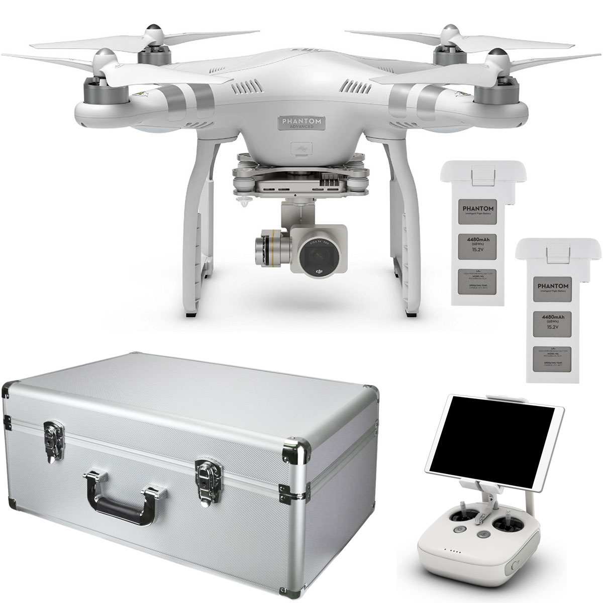 DJI Phantom 3 Advanced Quadcopter Drone with 1080p Camera & 3-Axis Gimbale with Extra Battery and Custom Aluminum Case