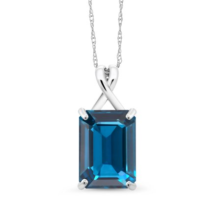 - 8.50 Ct Emerald Cut London Blue Topaz 10K White Gold Pendant With Chain