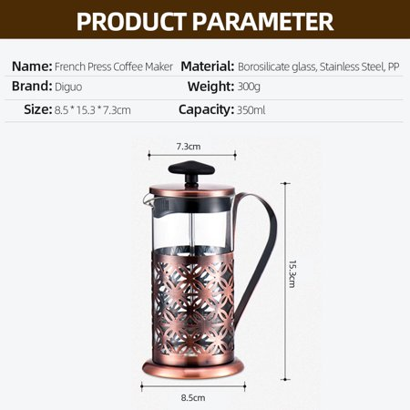 Press Coffee Maker French Press Coffee Maker Tea Maker with Stainless Steel Stand - image 4 of 7