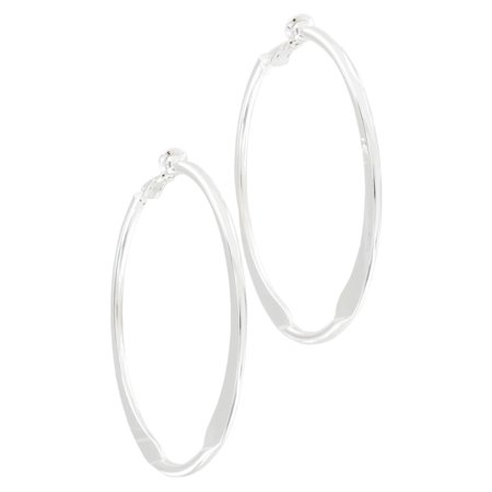 - Silver Tone Large Clip On Earrings 2 1/4