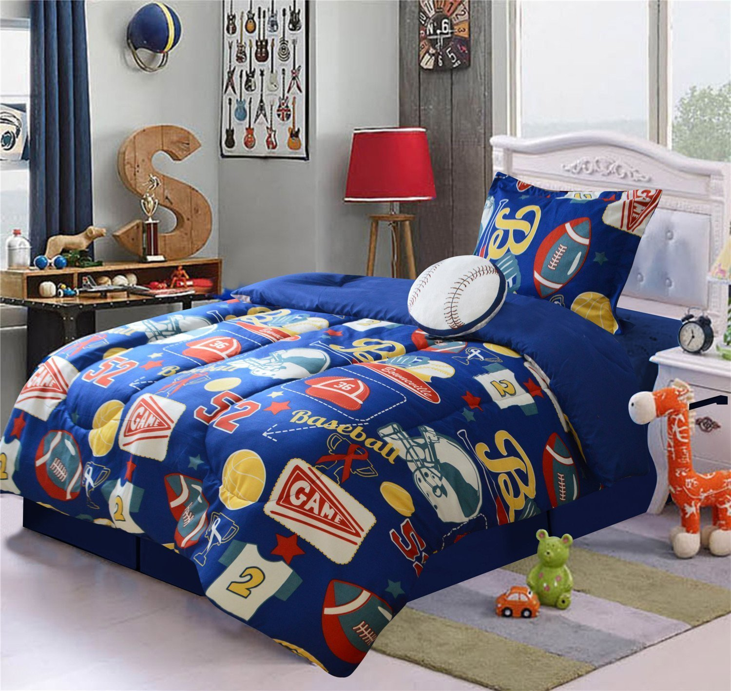 WPM 4 Piece Kids Twin Size Comforter Set Sports football baseball navy blue bedding for kids bed room sheets pillow sham with Plush Toy-JD6651…