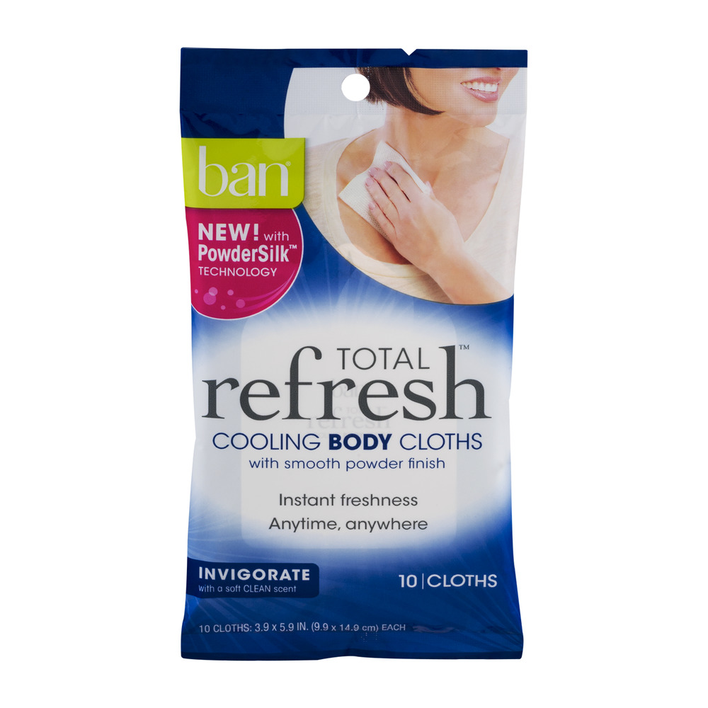 Ban Total Refresh Cooling Body Cloths Invigorate - 10 CT