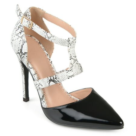Women's Faux Patent Leather Pointed Toe T-strap Heels - Patent Leather Wide Cinch