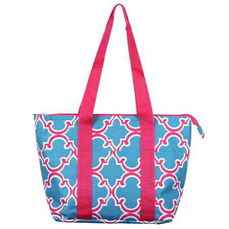 - Zodaca Fashion Large Insulated Zip Top Lunch Bag Women Tote Cooler Picnic Travel Food Box Carry Bags