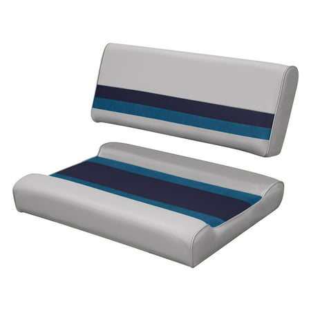 Wise (8WD125FF-1011) 8WD125FF-1011 Deluxe Series Pontoon Flip Flop Bench Seat and Backrest Cushion Set, Grey/Navy/Blue