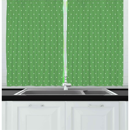 Green Curtains 2 Panels Set, 50s 60s Style Retro Vintage Inspired Simple Design with Little Polka Dots Image, Window Drapes for Living Room Bedroom, 55W X 39L Inches, Green and White, by Ambesonne - 50's Style Home Decor