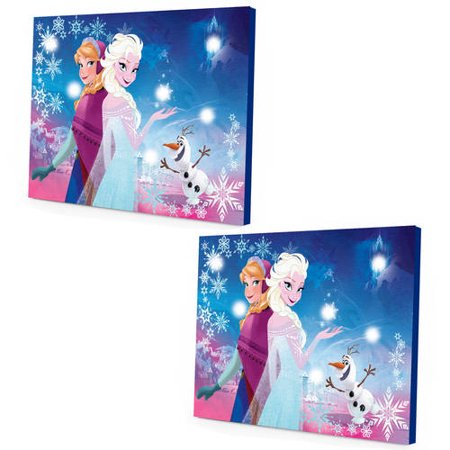 Led Canvas Wall Art Halloween ((2 Pack) Disney Frozen LED Canvas Wall)