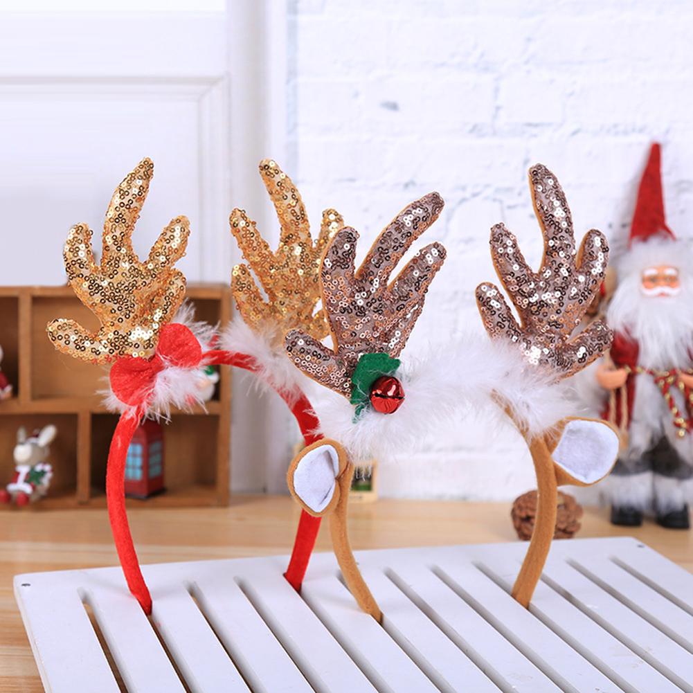 Directer Christmas Sequin Deer Horn Hair Hoop Party Birthday Decor Headwear Photo Prop