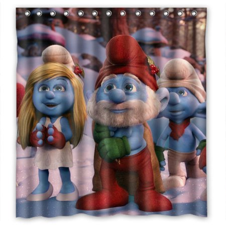 DEYOU The Smurfs Shower Curtain Polyester Fabric Bathroom Size 66x72 Inches