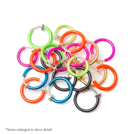 Fade Hoops - 20-pack Non-piercing Fake Hoops Anodized Finish - Lip, Nose, Cartilage & Ear