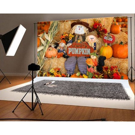 HelloDecor Polyster 7x5ft Backdrop Fall Decorations Holiday Festival Party Photography Background Multicolored Pumpkins Scarecrow County Pumpkins Flowers Toy Background Children Portrait - Fall Festival Decorations