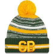 Green Bay Packers New Era Youth 2021 NFL Sideline Sport Alt Pom Cuffed Knit Hat - Green/Gold - OSFA
