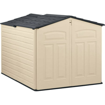 Rubbermaid 6 x 5 ft Storage Shed with Slide Lid, Sandstone &