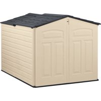 Rubbermaid 6 x 5 ft Storage Shed with Slide Lid, Sandstone & Onyx