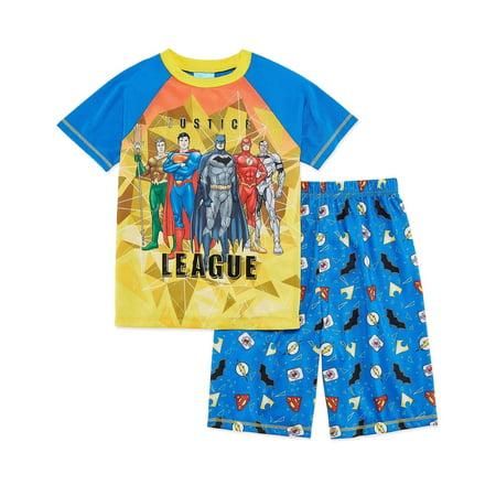 DC Comics Big Boys' Join The Justice League 2-Piece Pajama Short Set, Bluylw, Size: 8](Tween Pajamas)
