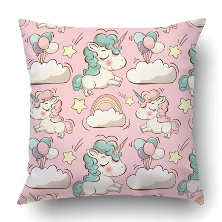 BPBOP cute unicorns clouds rainbow and stars Magic background with little unicorns Pillowcase Throw Pillow Cover Case 18x18 inches ()