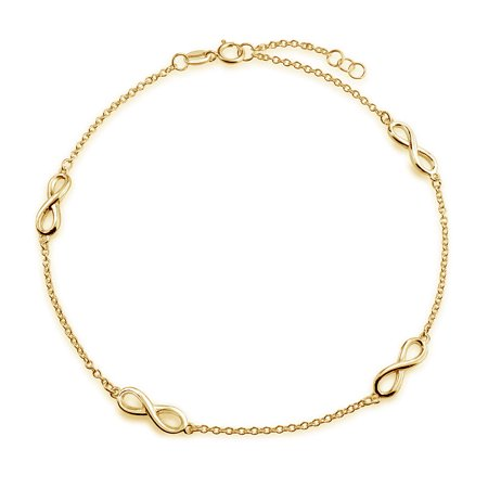Multi Infinity Love Knot Anklet Ankle Bracelet Link Chain 14K Gold Plated 925 Sterling Silver Adjustable 9-10 Inch