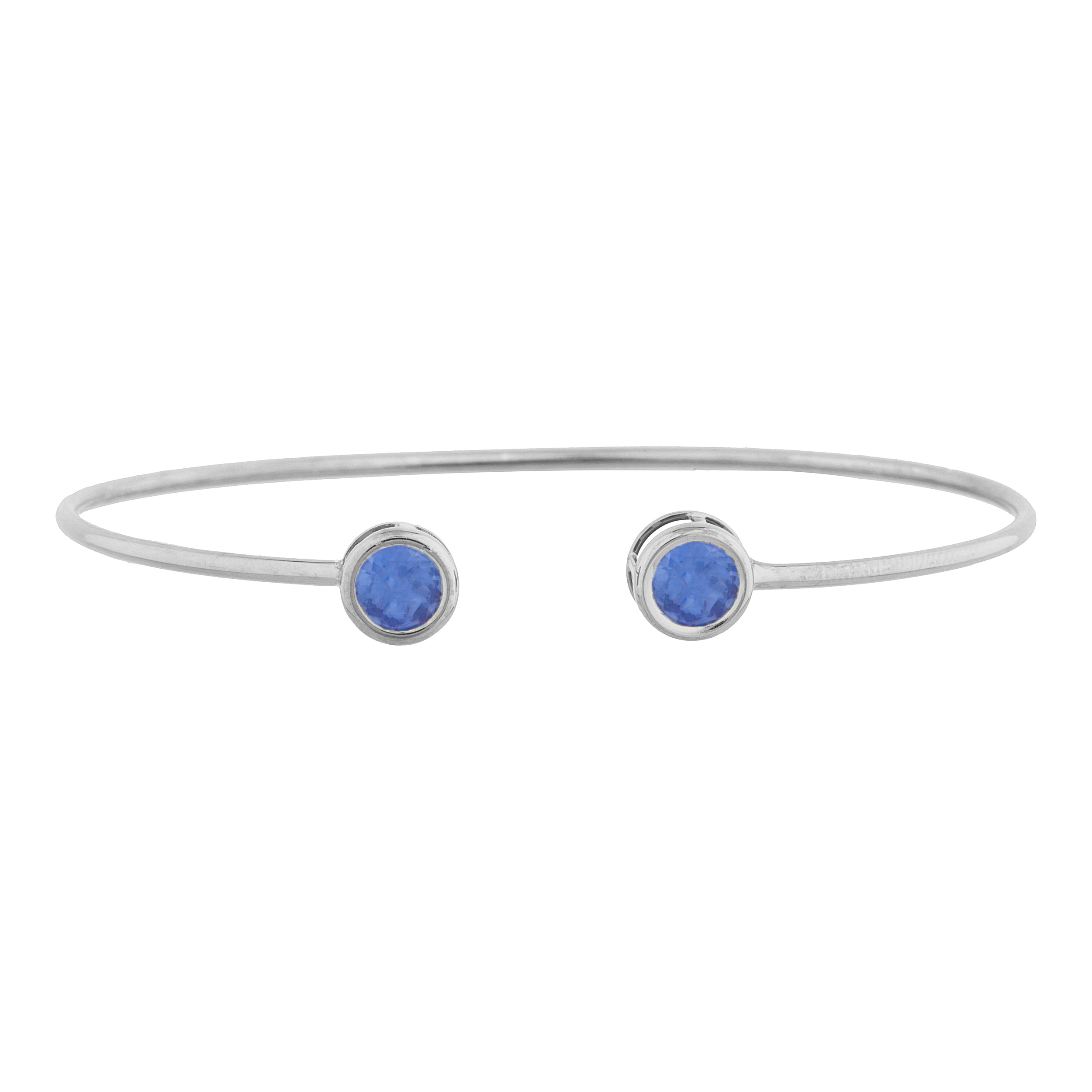 2 Ct Tanzanite Round Bezel Bangle Bracelet .925 Sterling Silver by Elizabeth Jewelry Inc