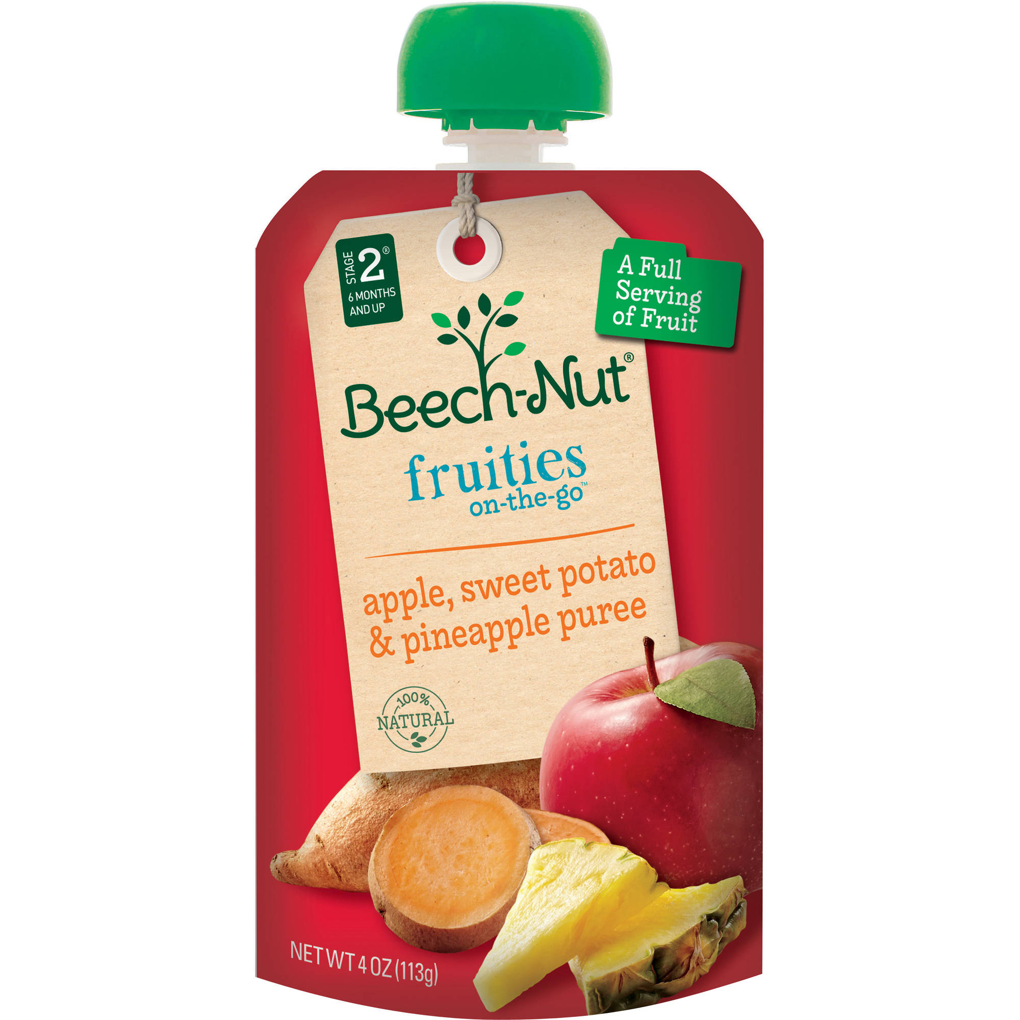 Beech-Nut Pouch Stage 2 Fruities on the Go Apple Sweet Potato & Pineapple, 4 oz (Pack of 16)