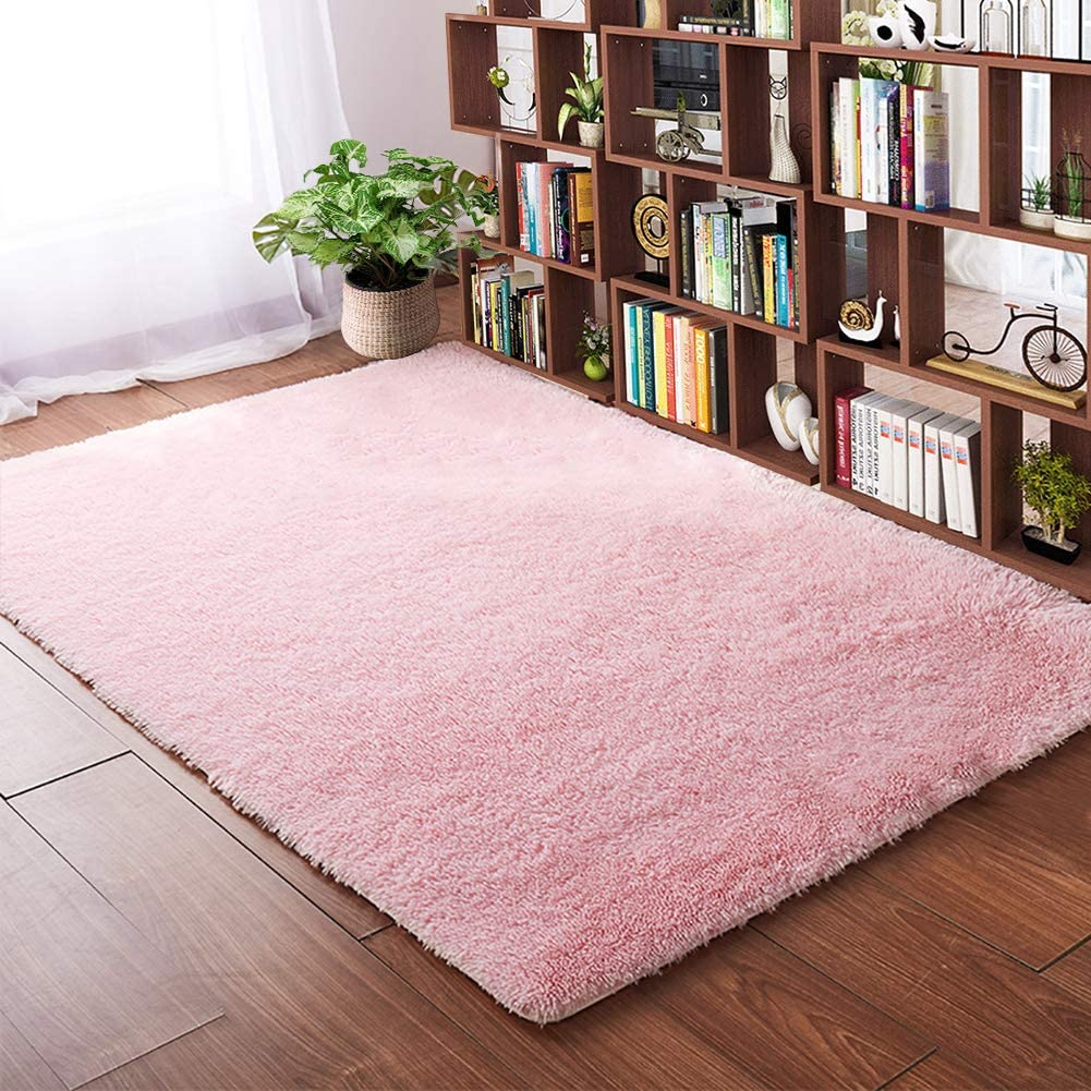 soft area rugs for bedroom 4 x 53 feet pink shaggy floor