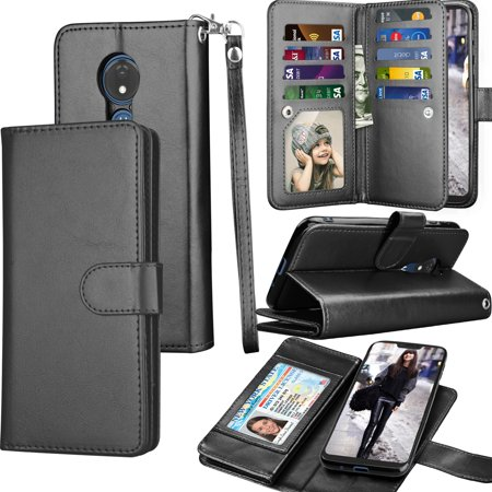 Moto G7 Power Case, Motorola Moto G7 Supra Wallet Case, Tekcoo ID Cash Credit Card Slots Holder Purse Carrying PU Leather Folio Flip Cover Cases [Detachable Magnetic Hard Case] Kickstand - Black ()