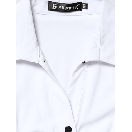 Unique Bargains Women Point Collar Button Closure Long Sleeves Casual Shirt White M - image 3 of 7