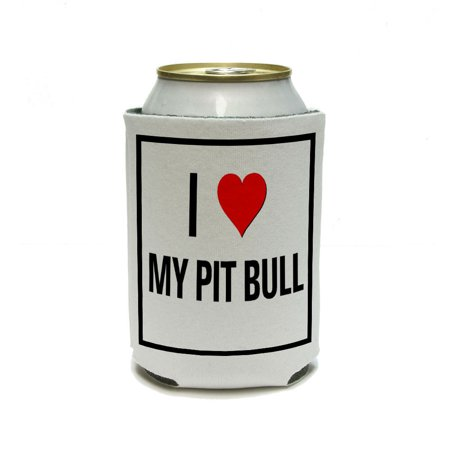 I Love Heart My Pit Bull Can Cooler Drink Insulator Beverage Insulated Holder ()