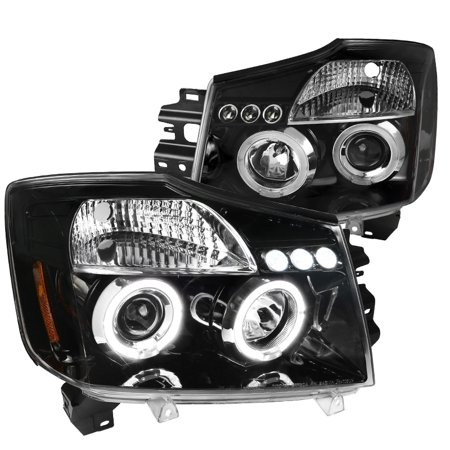Spec-D Tuning For 2004-2015 Nissan Titan 2004-2007 Armada Replacement Jet Black Led Halo Projector Headlights (Left+Right) 2004 2005 2006 2007 2008 2009 2010 2011 2012 2013 2014