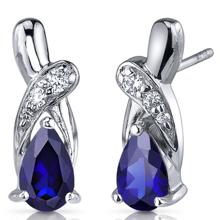Peora 2.00 Ct Pear Shape Blue Sapphire CZ Accent Sterling Silver Drop Earrings Rhodium Finish