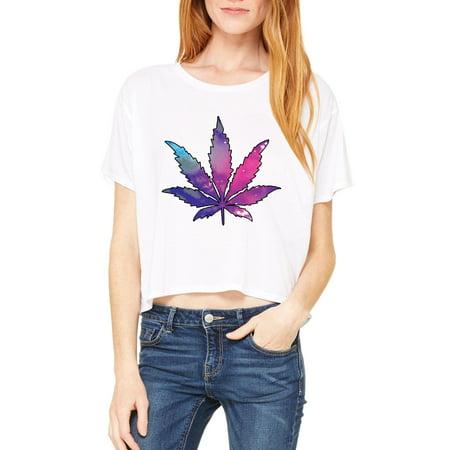 Artix Marijuana Leaf Galaxy Cannabis 420 Fashion Weed Pot People Women Flowy Boxy T Shirt