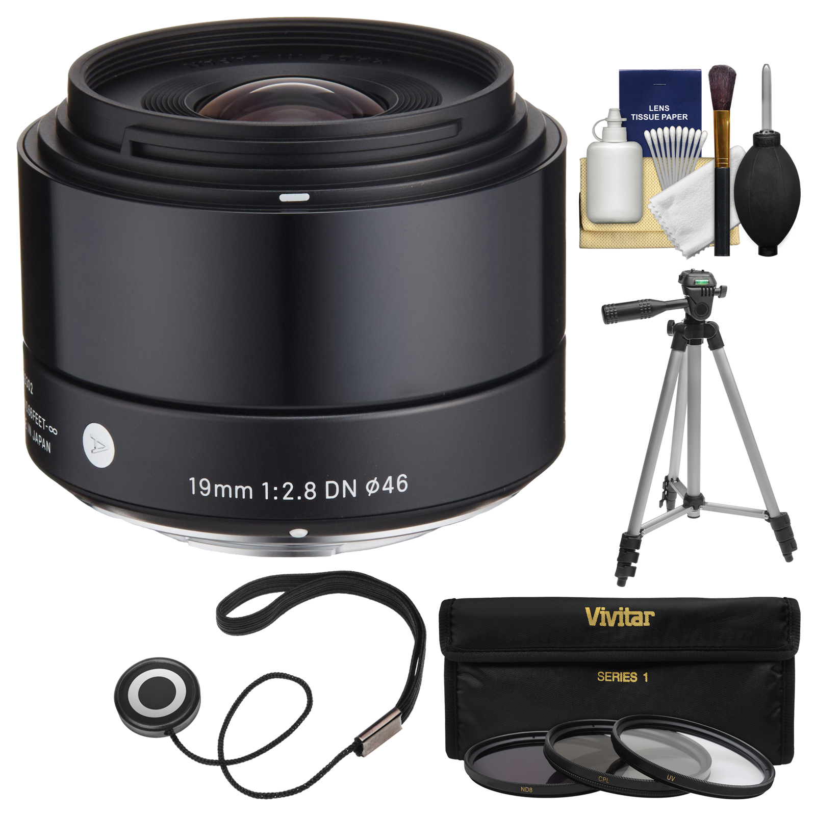 Sigma 19mm f/2.8 EX DN Art Lens with 3 UV/CPL/ND8 Filters + Tripod + Kit for Olympus / Panasonic Micro 4/3 Digital Cameras