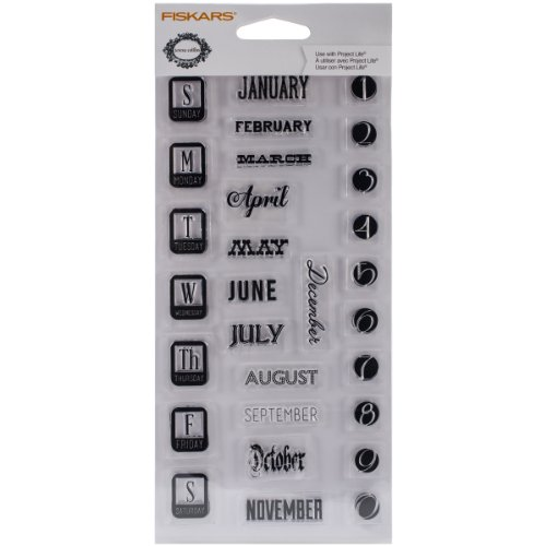 Fiskars 104040-1001 Clear Stamps, 4 by 8-Inch, Teresa Collins Dates
