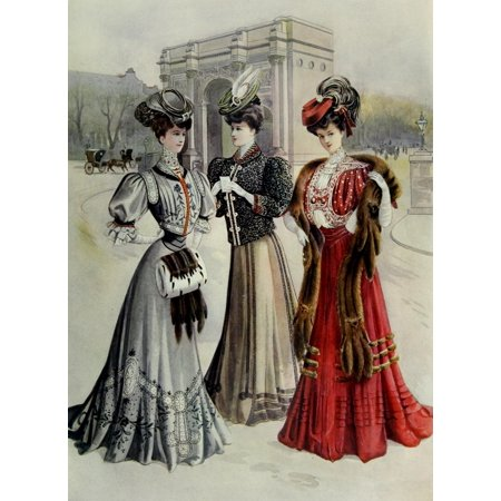 Latest Paris Fashions 1877 Costumes DHiver Poster Print by Unknown