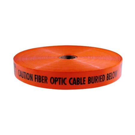 Mega Stretch Underground Marking Tape - Caution Buried Fiber Optic Line Below - 3