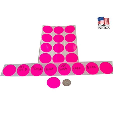 Preferred Postage Supplies Color Coding Labels Super Bright Fluorescent Neon Yellow Round Circle Dots For Organizing Inventory 1.5 Inch 1020 Total Adhesive - Fluorescent Bright Yellow Circle